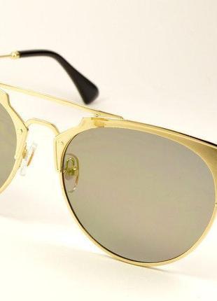 Золотистые зеркальные очки