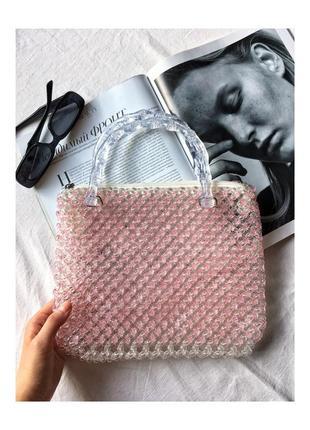 Винтажная сумка из бусинок бусин бисера белая винтаж прозрачная сумочка ретро