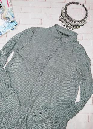 Рубашка блуза в трендовый принт гусиная лапка zara