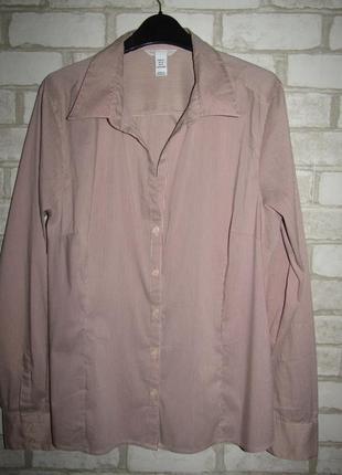 Стрейчевая рубашка в полоску р-р 18 бренд h&m