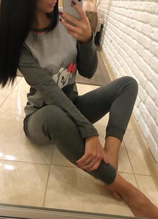 Много расцветок!!! хлопковая котоновая пижама с длинным рукавом и манжетами на штанах