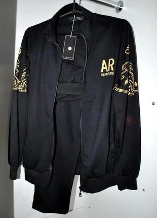 Прогулочный костюм fashion m черный с золотым принтом крутой