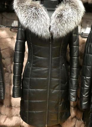 Кожаный пуховик куртка песец