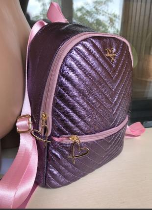 В наличии модный серебристо-сиреневый рюкзак виктория сикрет из кожи пу (pu)