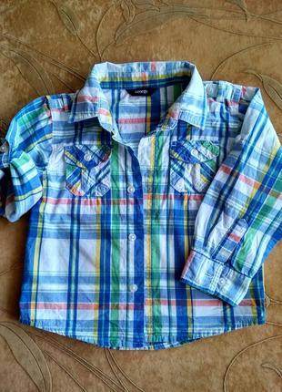 Рубашка в клетку  george на  мальчика  2-3 года