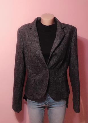 Шикарный серый шерстяной пиджак жакет benetton.