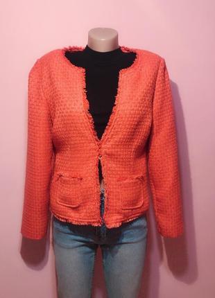 Красивый оранжевый пиджак жакет рогожка. р-р m