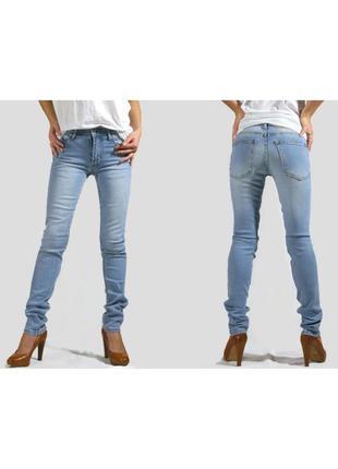 Стильные голубые джинсы скинни узкачи узкие штаны 28/32