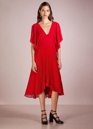 Красное платье плиссе бренда  ralph lauren club monaco