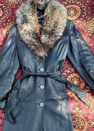 Кожаное пальто,  плащ, зима, чернобурка, кожа