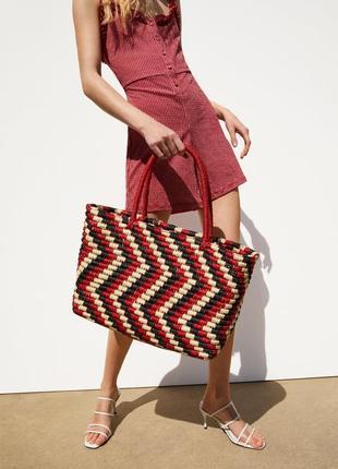 Трехцветная плетеная сумка-шопер zara
