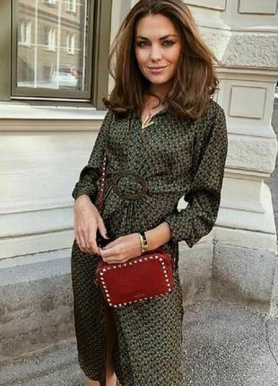 Zara новая коллекция ! сатиновое платье-рубашка zara