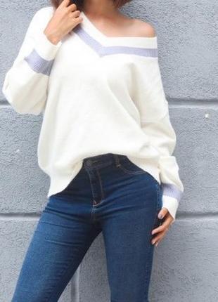 Уютный пуловер оверсайз молочного цвета / размер универсальный