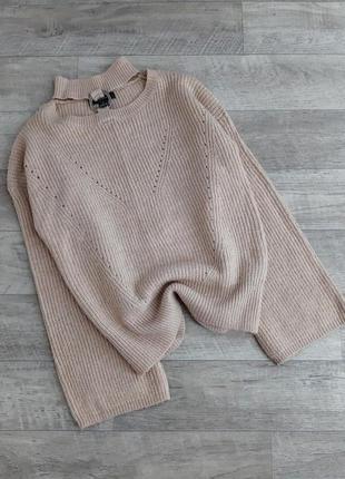 Бежевый свитер с кольцом на шеи ,  расклешенный рукав primark