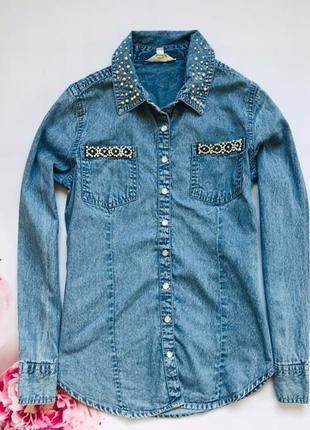 Matalan стильная джинсовая рубашка на девочку 8-9 лет
