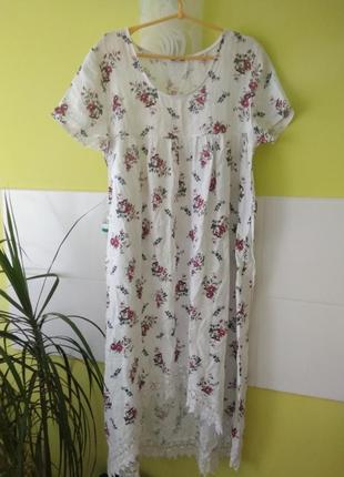 Платье лён асимметричного кроя цветочный принт с кружевом италия