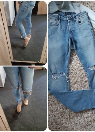 Стильные джинсы скинни рванки, jack&jones, p.28/32