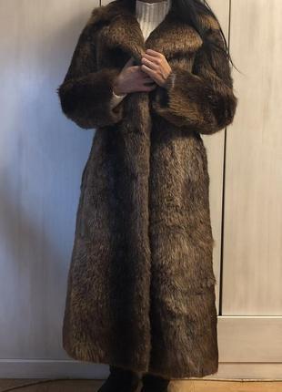 Винтажное пальто с бобра, шуба бобровая коричневая длинная швеция3 фото