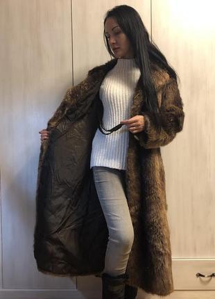 Винтажное пальто с бобра, шуба бобровая коричневая длинная швеция4 фото