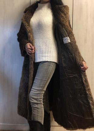 Винтажное пальто с бобра, шуба бобровая коричневая длинная швеция6 фото