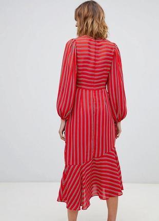 Червоне плаття міді в смужку5 фото