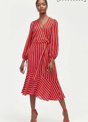 Червоне плаття міді в смужку4 фото