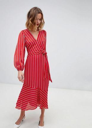 Червоне плаття міді в смужку2 фото