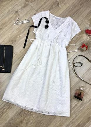 Шикарное,белоснежное с вышивкой (прошва) миди платье от yessica 😍