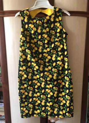Платье принт лимончики
