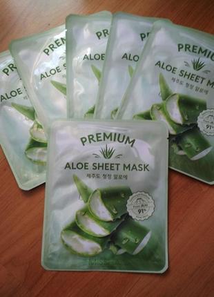 Заспокійлива маска для обличчя з екстрактом алое missha premium aloe sheet mask