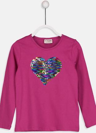 Малиновый реглан перевертыш для девочки lc waikiki / лс вайкики с сердцем из паеток