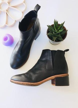 Трендовые кожаные ботинки на низком ходу с резинками по бокам от clarks