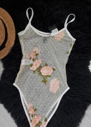 Боди с вышивкой цветов/белое боди на тонких бретелях/прозрачное боди/сексуальное белье