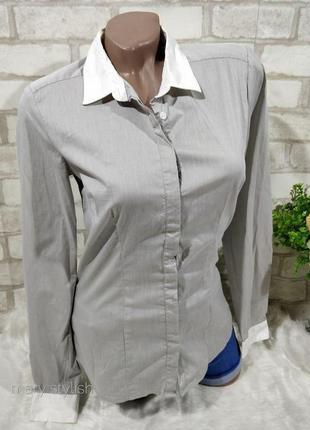 Рубашка с белым воротником и манжетами, полуприталенная