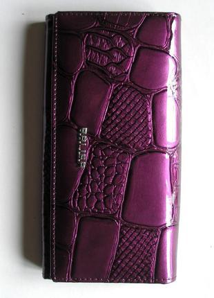 Большой кожаный лаковый кошелек пурпурный, 100% натуральная кожа, есть доставка бесплатно
