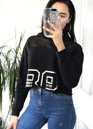 Чорний вкорочений худі на флісі з вставкою з сіточки від new look