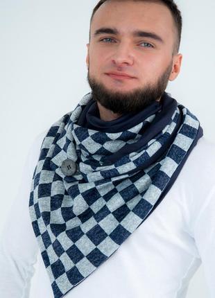 "Шарф-бактус ""эдинбург"", шарф-снуд, большой мужской шарф, теплый мужской шарф"