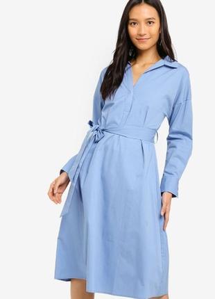 Платье рубашка рубашечного типа миди с поясом а-силуэт качество хлопок