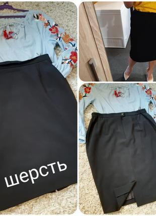 Классическая черная юбка карандаш с карманами, германия,р. 44
