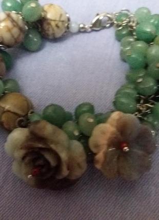 Шикарный браслет нефрит,яшма