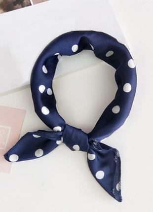 Платок платочек бант лента для волос на сумку топ-качество синий в горох
