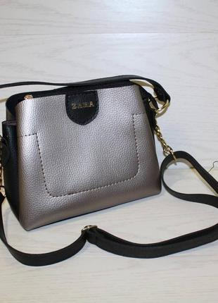 Сумочка/сумка zara черная бронза