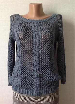 Ажурный свитерок  ленточной вязки размер xs