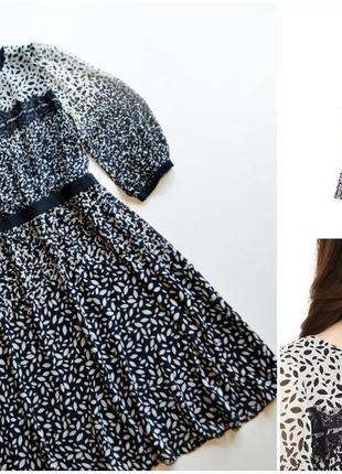 Marks & spencer нежное платье в принт с кружевной вставкой