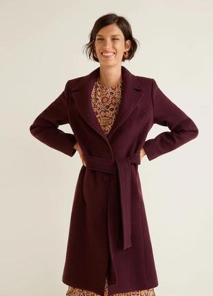 Пальто шерсть mango  шикарный цвет марсала отличное качество коллекция 2020