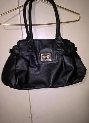 Черная кожаная сумка f&f
