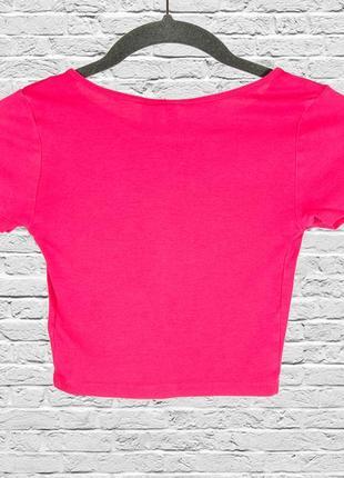 Розовый кроп топ, спортивный топ футболка, розовая футболка короткая2 фото