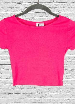 Розовый кроп топ, спортивный топ футболка, розовая футболка короткая