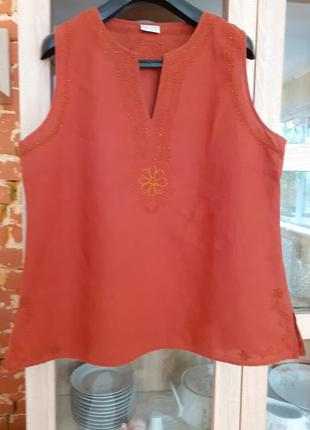 Натуральная кирпичная блуза  с вышивкой и бисером biaggini