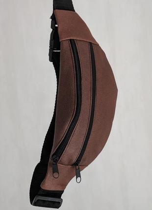 Стильная бананка натуральная кожа, модная сумка на пояс плече коричневая кора кожа